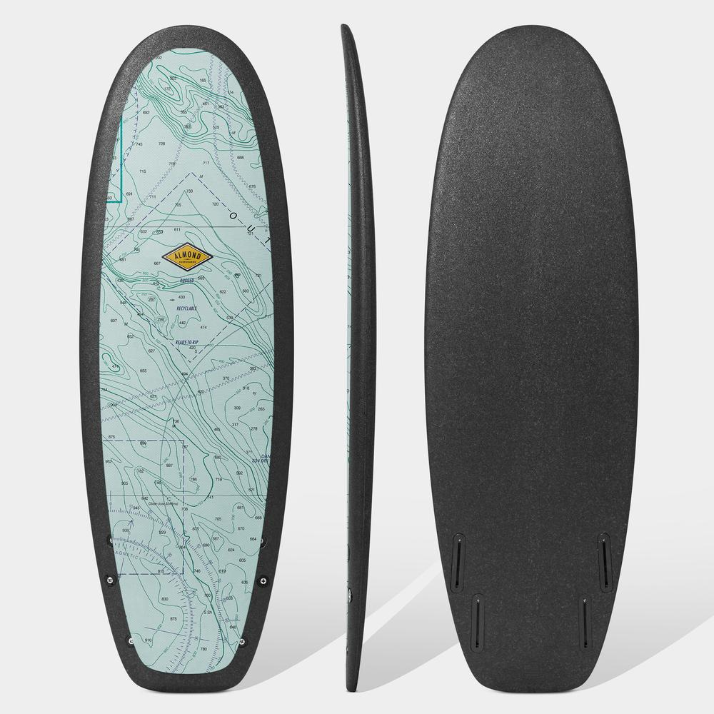 Almond surfboard R series size 5'4 blue nautical chart print with black rails and black bottom. Made out of recyclable stiff foam.