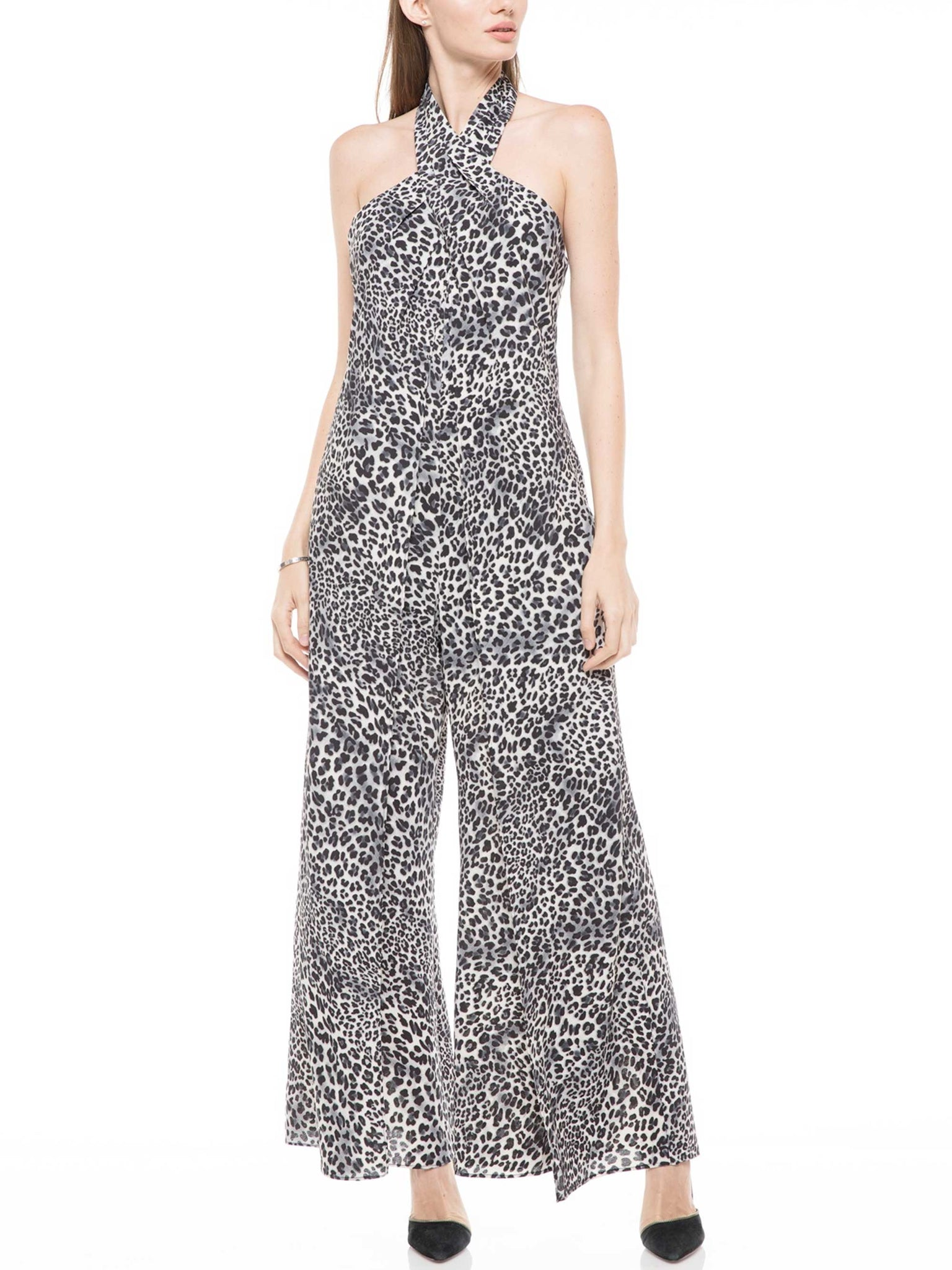 Animal printing wide-legged jumpsuit