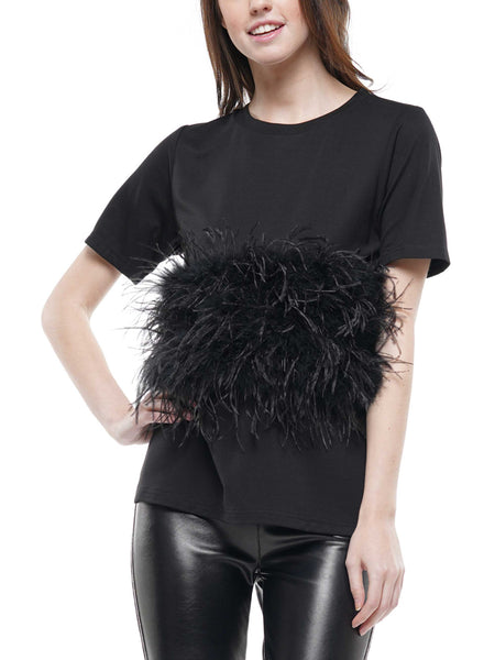 Ostrich feather t-shirt