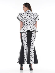 Dot Pattern Scuba Fabric Long Skirt