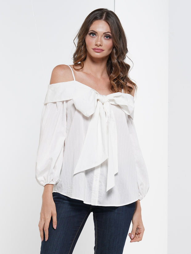 Front BIG Ribbon Detail Casual Blouse Top | Why Dress