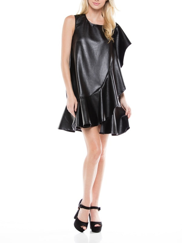 One shoulder unbalanced ruffle detail mini dress. | Why Dress