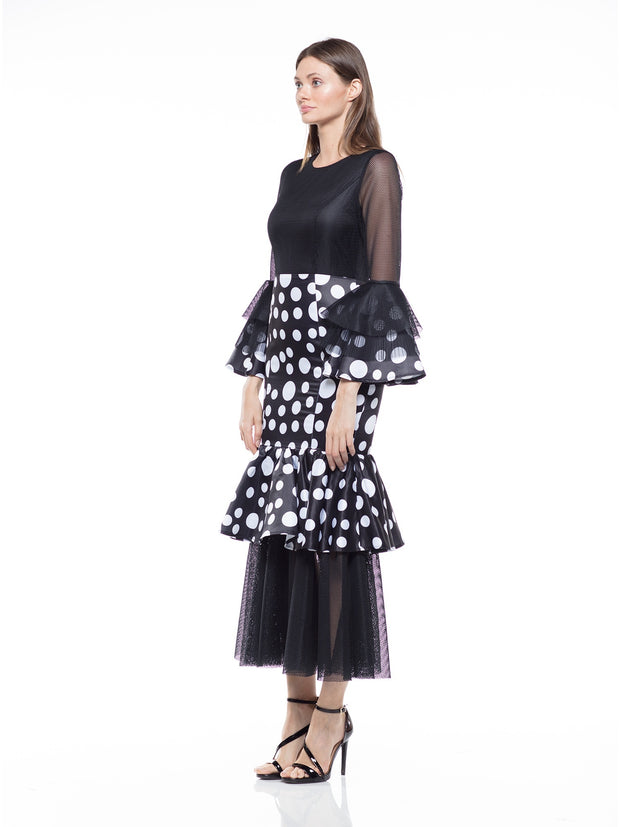 sleeves Ruffle detail dot pattern dress - Why Dress