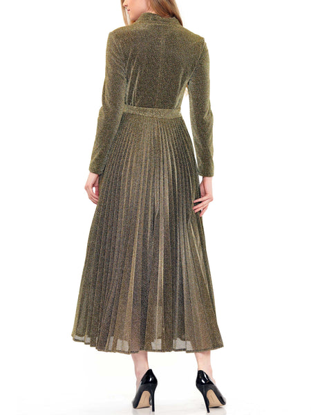 Metallic fabric pleated dress