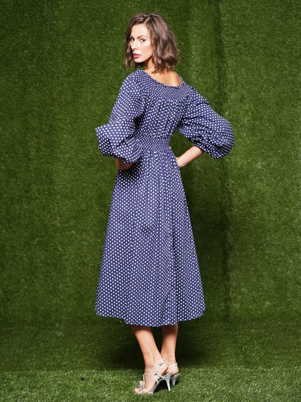 Dot pattern fabric open shoulder casual dress. - Why Dress