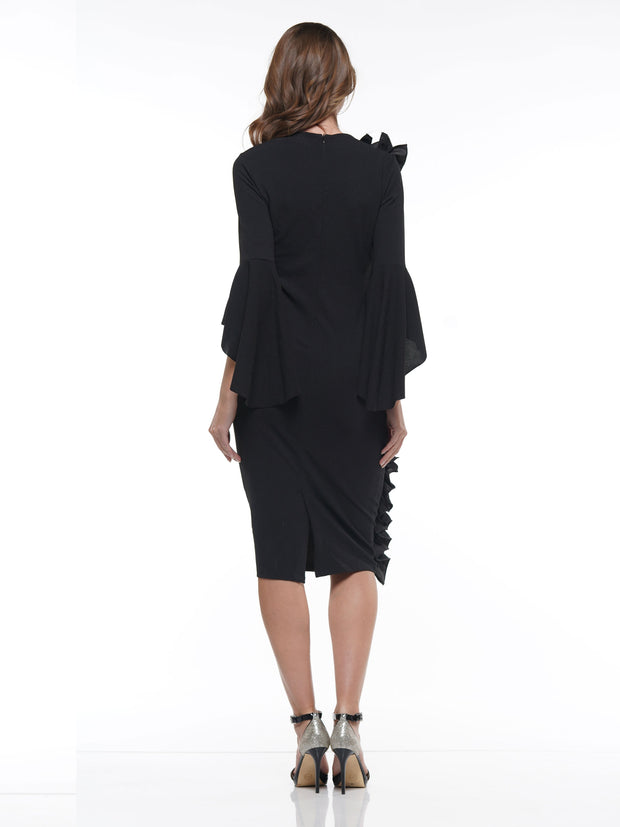 Dress Ruffle Detail Midi Length Fashion Dress - Why Dress