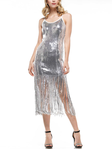 Dance the night away fringe sequin dress