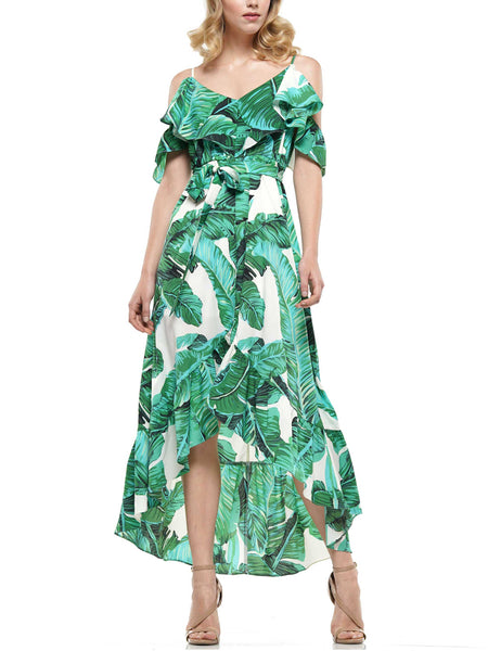 Tropical printed off the shoulder hilo dress