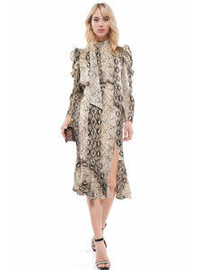 Snake print Puff Sleeve Dress | Why Dress