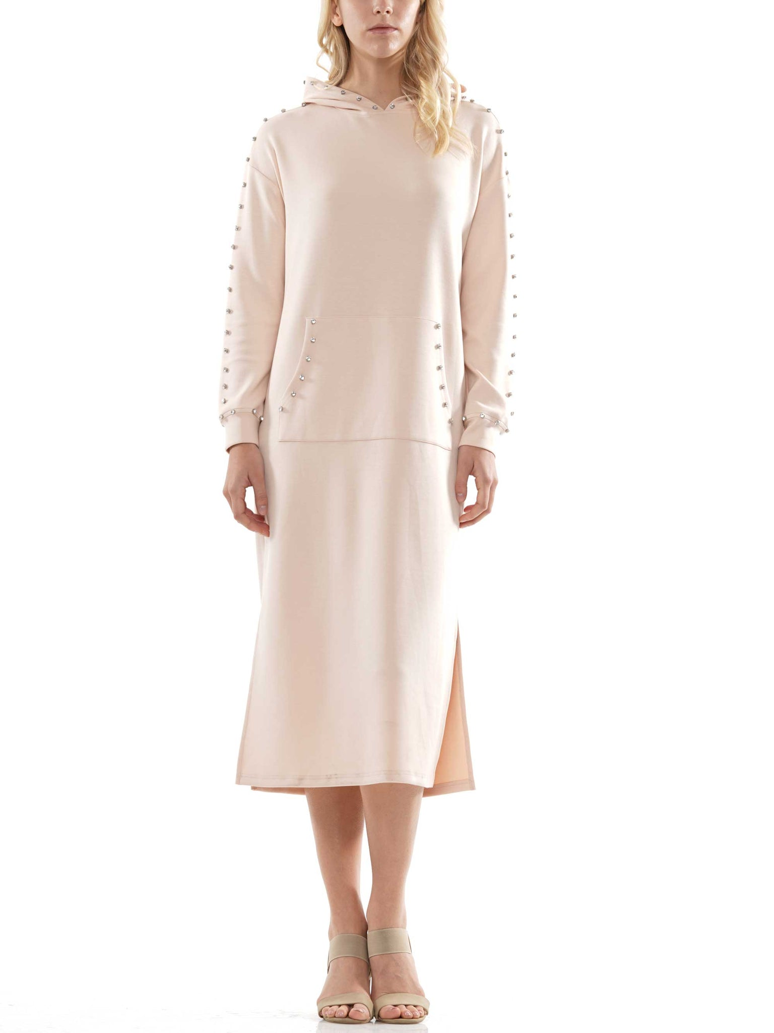 Light lyocell hooded pocket dress with gemstone