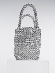 Women Beaded Bag Silver Acrylic Tote Bags