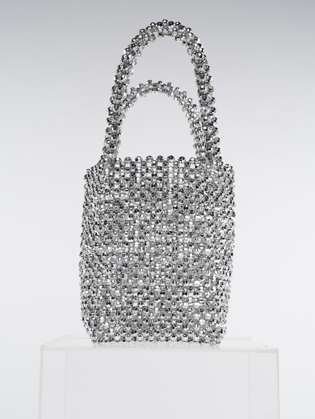 Women Beaded Bag Silver Acrylic Tote Bags | Why Dress