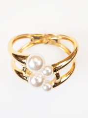 WHITE PEARL WITH GOLD BANGLE BRACELET | Why Dress