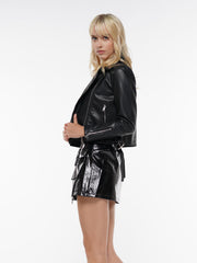 POCKET ZIP FRONT BELTED LEATHER MINI SKIRT | Why Dress