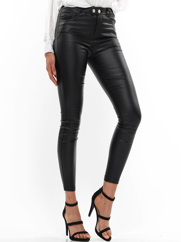SHINY MID RISE SKINNY PANTS | Why Dress