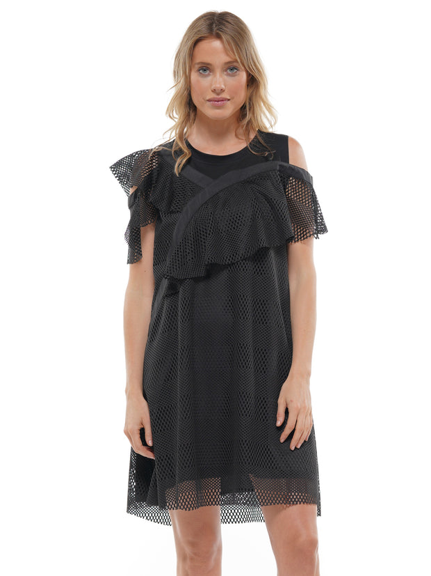 LACE CUTOUT SHOULDER MESH DRESS | Why Dress