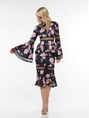 CUTOUT FLORAL PRINT BELL SLEEVE FISHTAIL DRESS | Why Dress