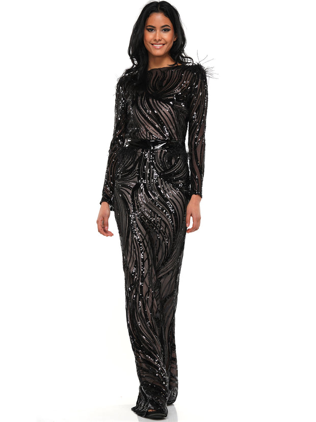 FAKE ME OUT SEQUIN FEATHER MAXI DRESS