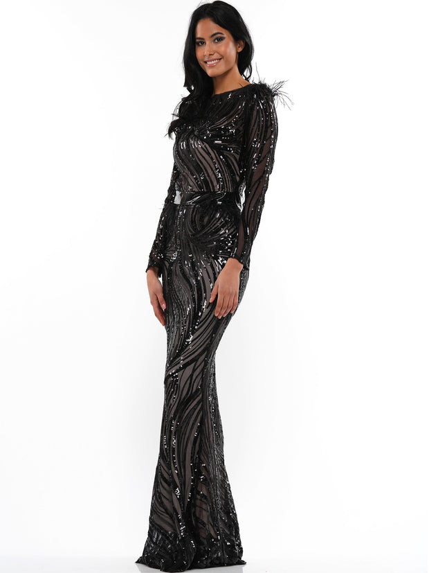 FAKE ME OUT SEQUIN FEATHER MAXI DRESS | Why Dress