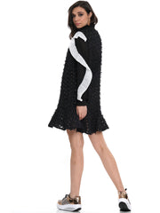LONG SLEEVE RUFFLE FURRY MINI DRESS | Why Dress