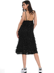 RUTHLESS SATIN STRAP BACKLESS FEATHER MIDI DRESS | Why Dress
