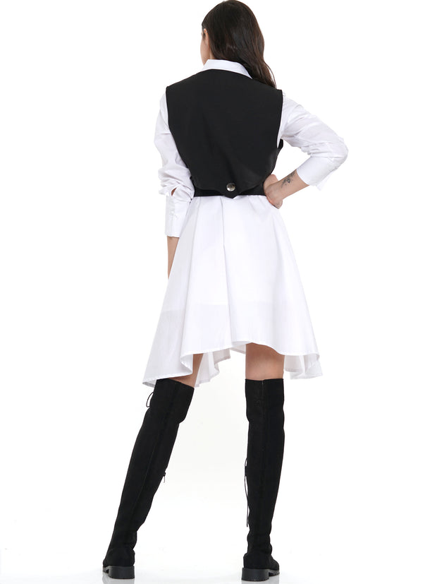 TIE FRONT VEST AND LONG SLEEVE RUFFLE MINI DRESS | Why Dress
