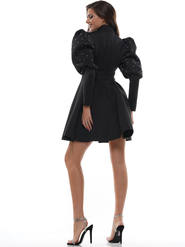 HIGH NECK PUFF SLEEVE CHIFFON MINI DRESS | Why Dress
