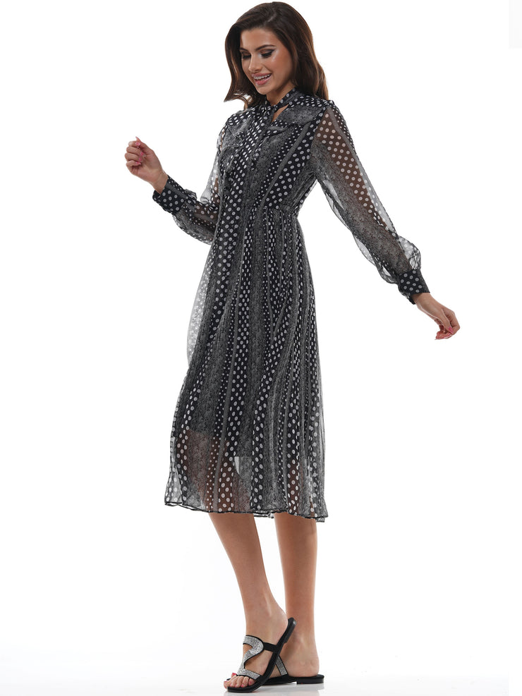 POLKA DOT PLEATS SHIRRING MIDI DRESS | Why Dress
