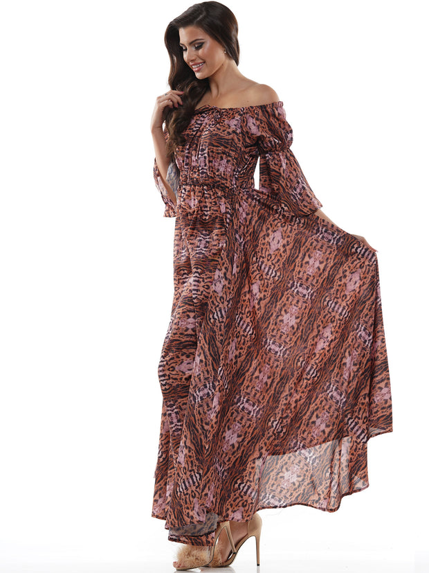 LEOPARD OFF SHOULDER SHIRRING DETAIL MAXI DRESS | Why Dress