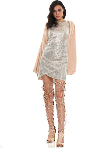 CHIFFON PUFF SLEEVE SEQUIN MINI DRESS | Why Dress