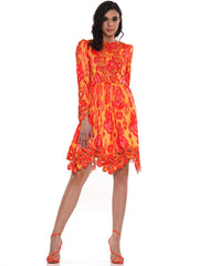 CUT OUT FLAME PRINT MINI DRESS | Why Dress
