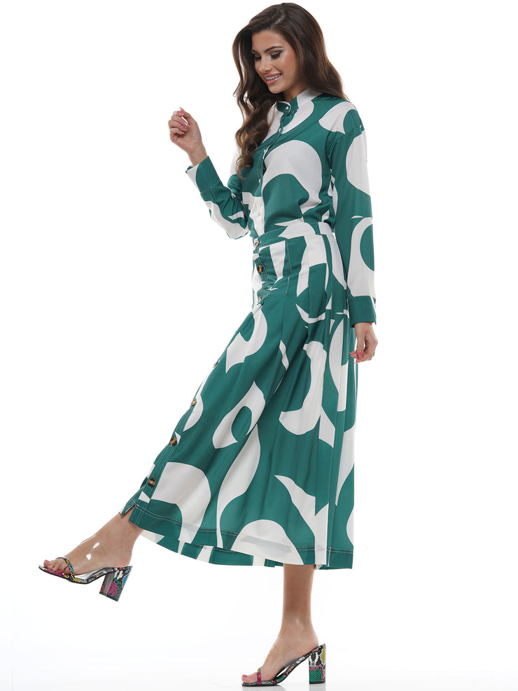 PRINT BUTTON DOWN MIDI DRESS | Why Dress