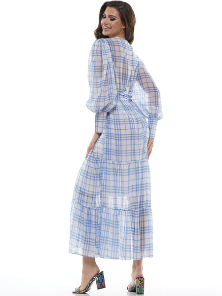 GINGHAM TIE WAIST CROSS FRONT MIDI DRESS | Why Dress