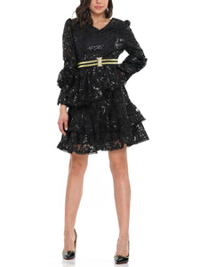 Ruffle tiered tie waist sequin lace mini dress