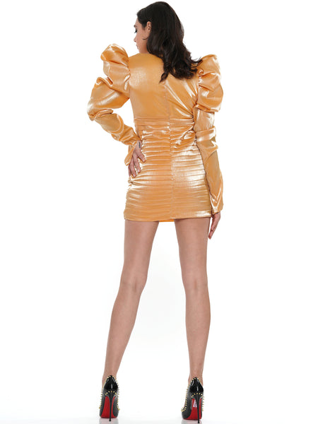 TIERED CROSS FRONT PUFF SLEEVE SATIN MINI DRESS | Why Dress