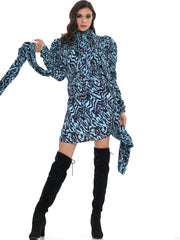 TIDAL WAVE LONG SLEEVE MINI DRESS