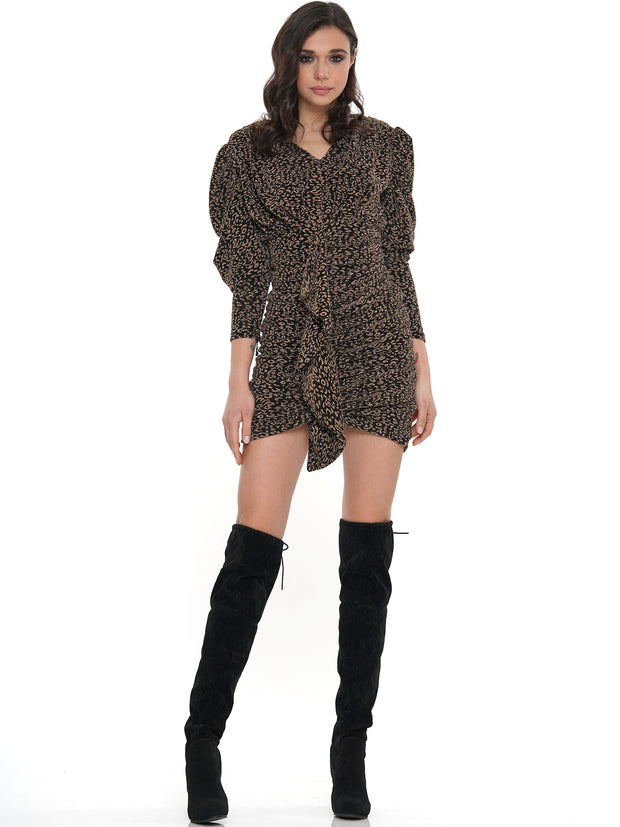 V-NECK LEOPARD PRINT MINI DRESS | Why Dress