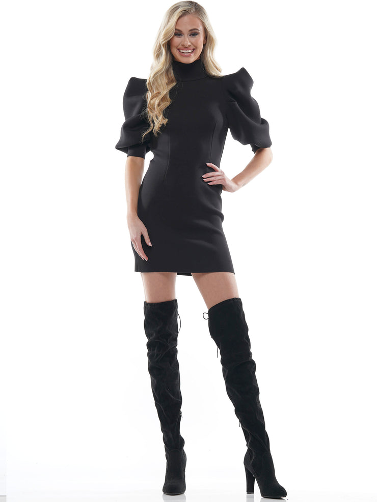 HIGH NECK ZIP UP PUFF SLEEVE MINI DRESS