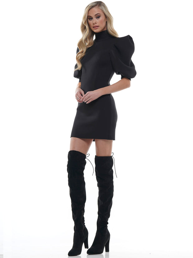 HIGH NECK ZIP UP PUFF SLEEVE MINI DRESS | Why Dress