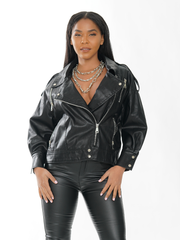 LEATHER ZIPPER MOTORCYCLE  JACKET COAT | Why Dress