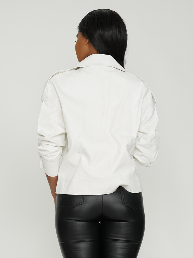 LEATHER ASYMMETRICAL ZIPPED BIKER BOMER JACKET | Why Dress