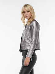 LEATHER PU BUTTON DETAIL ZIPPER JACKET | Why Dress