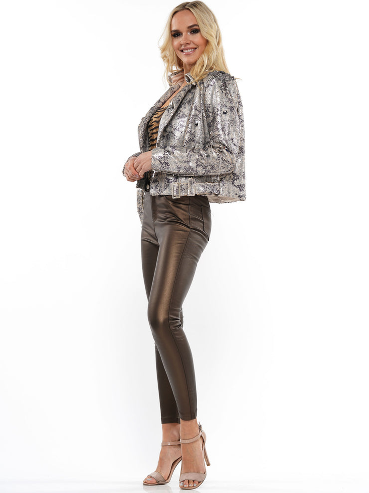 SEQUIN SNAKE ZIP UP BOMER JACKET | Why Dress