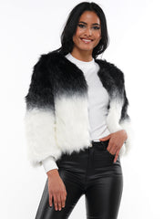 TWO TONE FAUX FUR CROP JACKET | Why Dress