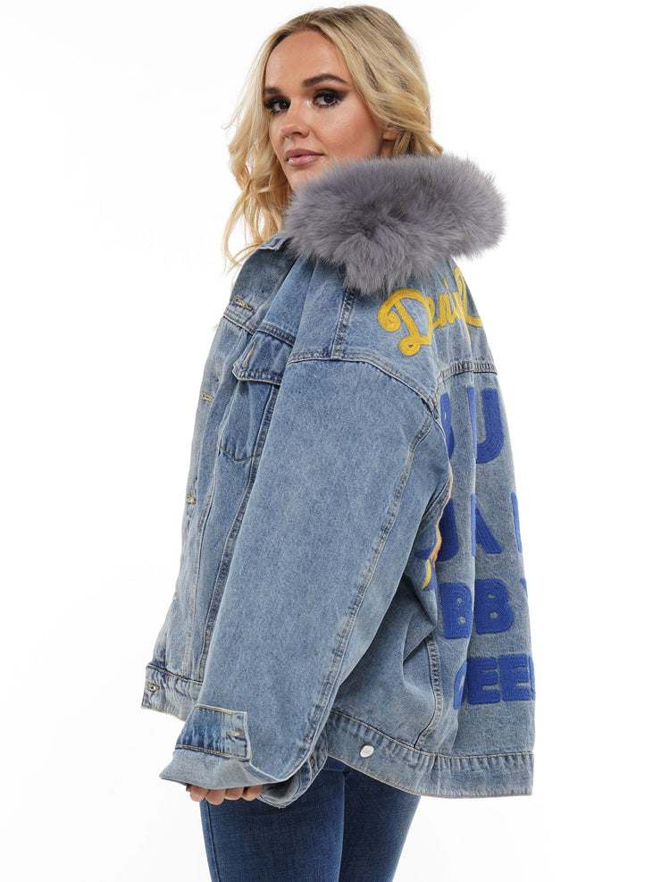 DENIM JACKET WITH FAUX FUR | Why Dress