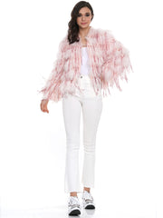SEQUIN FURRY FRINGE DETAIL JACKET | Why Dress