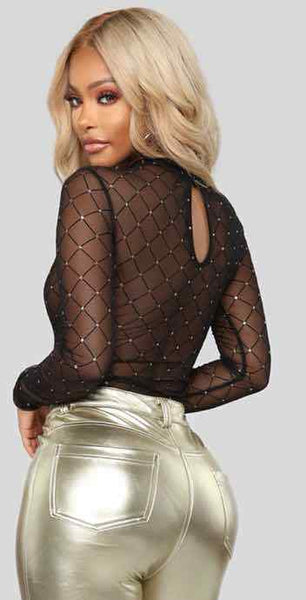 LONG SLEEVE HOLLOW OUT SOLID COLOR MESH BODYSUIT | Why Dress