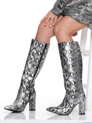 SNAKE SKIN STILETTO MID CALF THICK BOOT | Why Dress