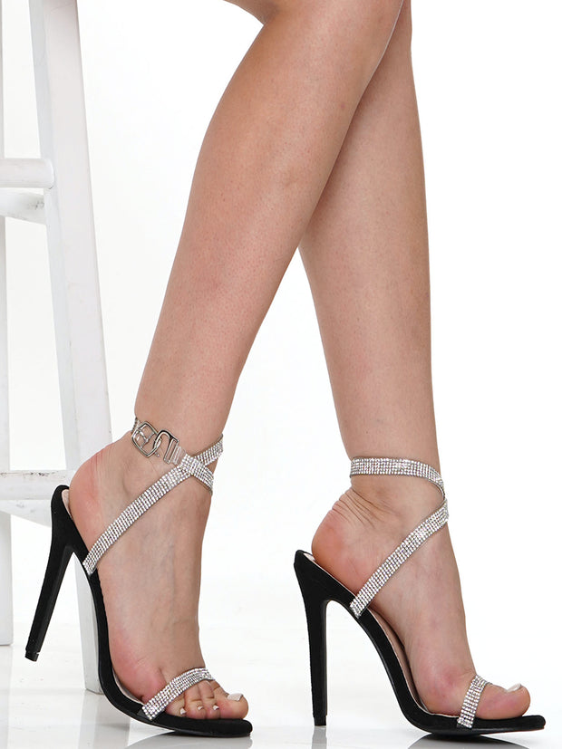SEXY RHINESTONE SHOELACE THIN HIGH HEEL SANDALS | Why Dress