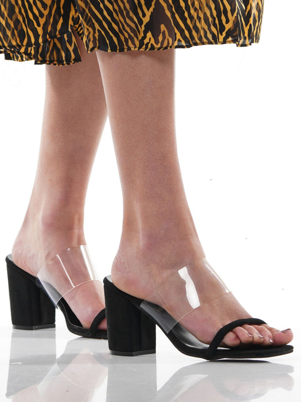 CLEAR FILM THICK HEELS SQUARE HEAD SANDALS | Why Dress